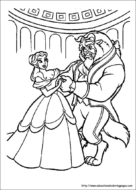 567x794 Beauty And Beast Coloring Pages Free For Kids