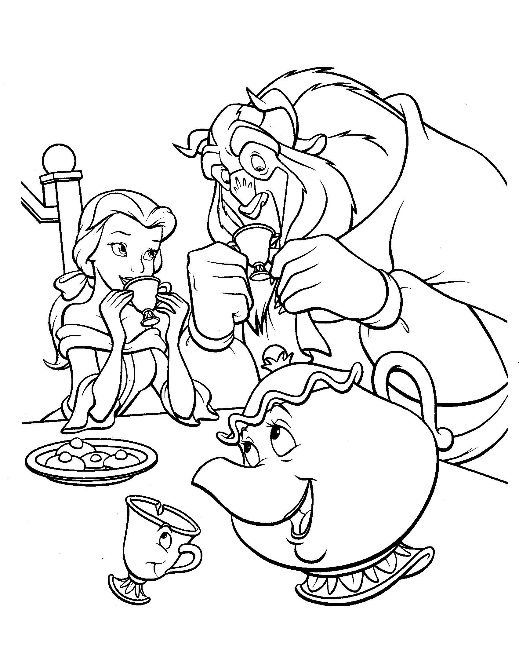 1700x2200 Beauty And The Beast Characters Coloring Pages