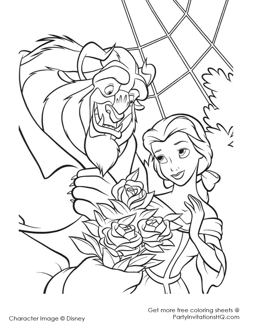 850x1100 Beauty And The Beast Characters Coloring Pages