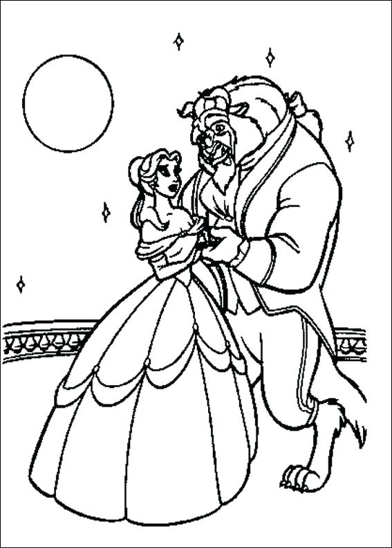 567x794 Beauty And The Beast Characters Coloring Pages Dancing Page