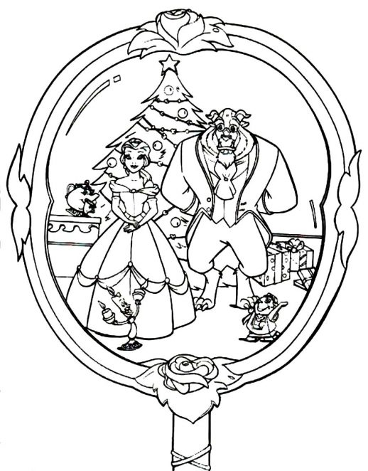 518x662 Beauty And The Beast Christmas Season Disney Coloring Pages