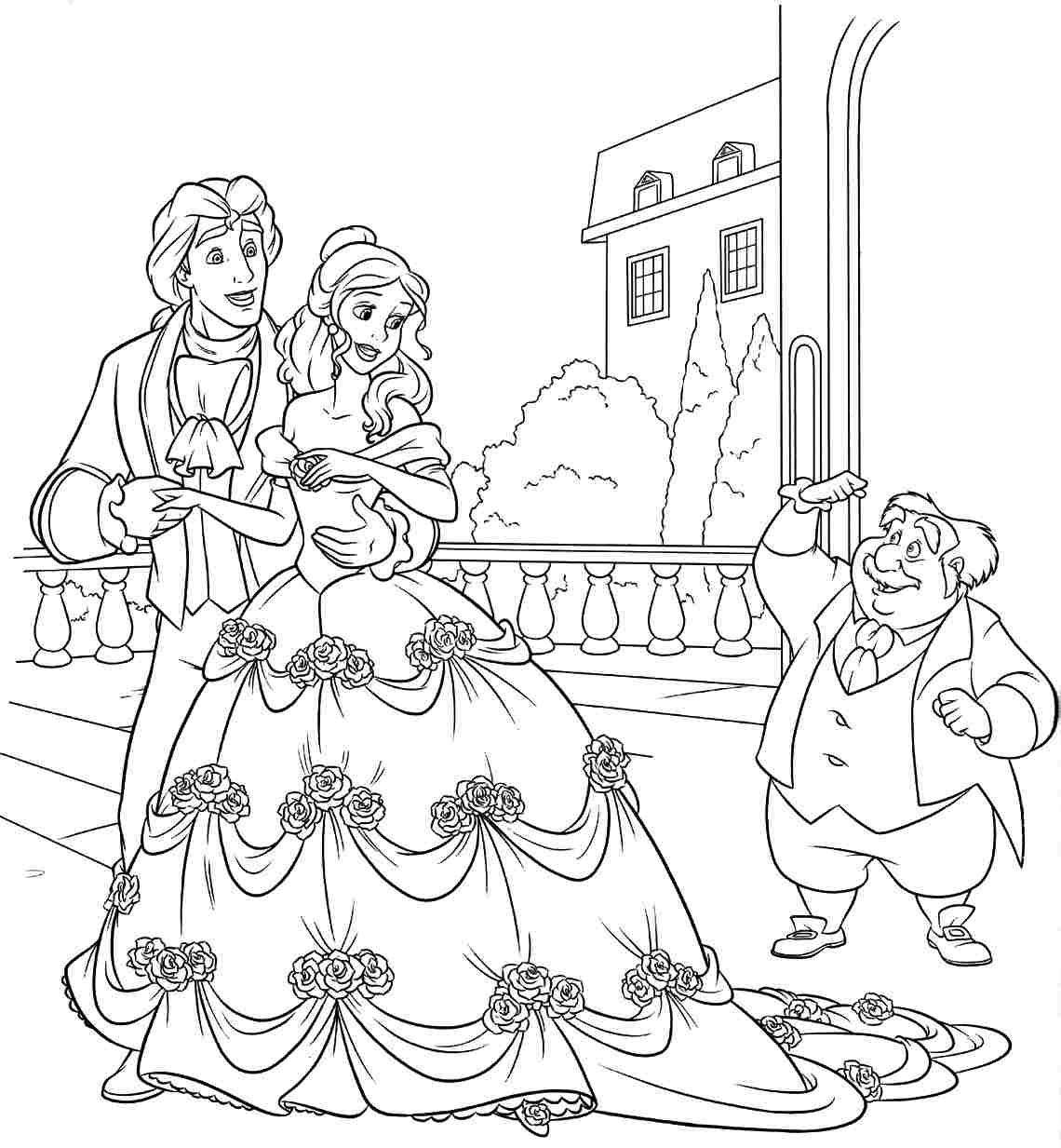 1140x1233 Beauty And The Beast Coloring Pages