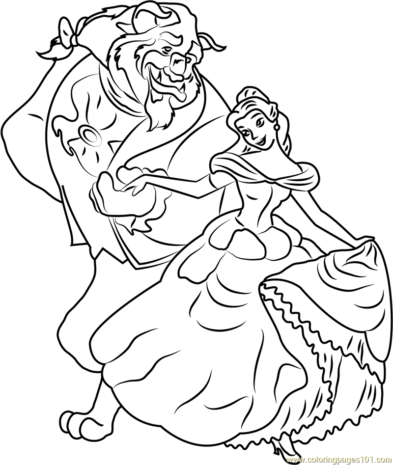 800x947 Belle And Beast Coloring Page