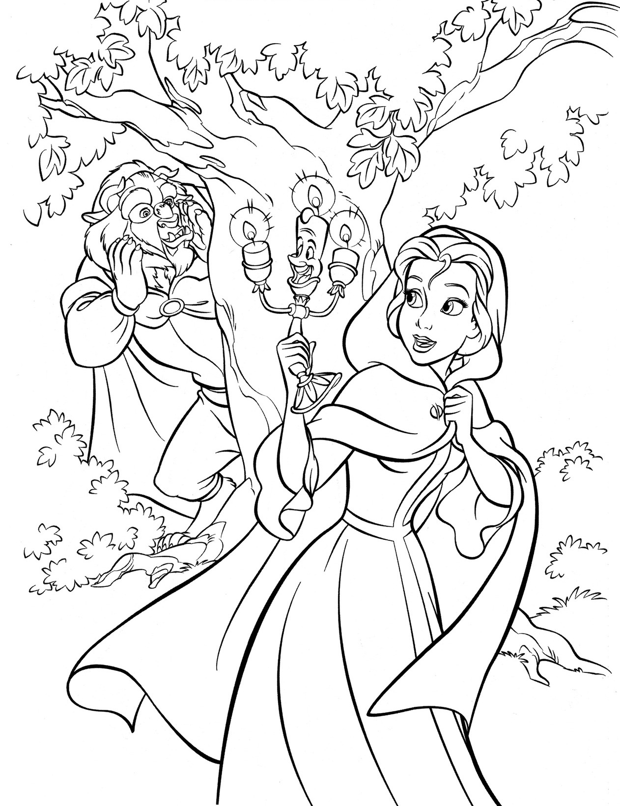 1262x1641 Free Disney Beauty And The Beast Coloring Pages Cute Kawaii