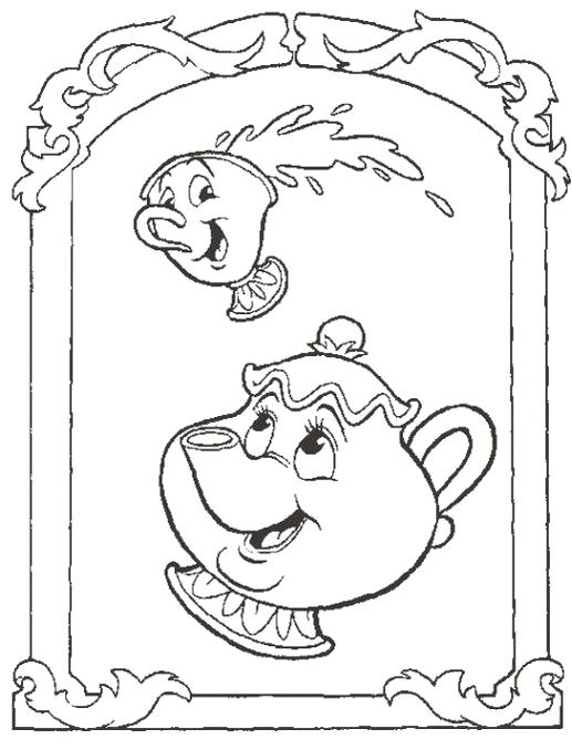 517x678 All Characters Beauty And Beast Coloring Page Beauty