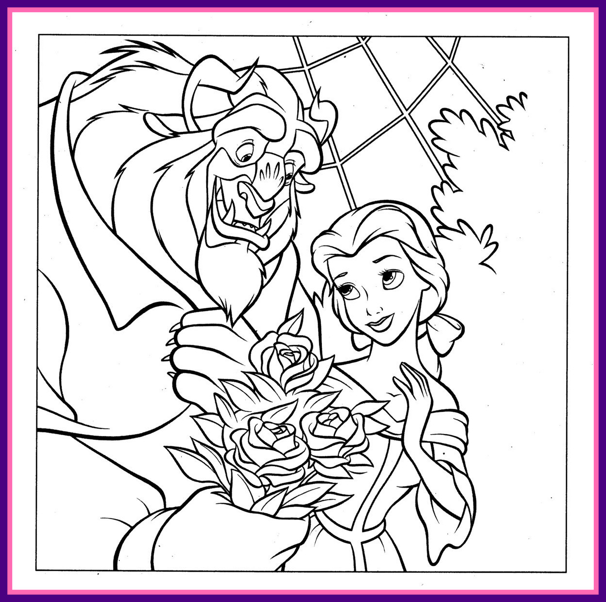 1250x1241 Awesome Beauty And The Beast Coloring Pages Disney On Vampirina