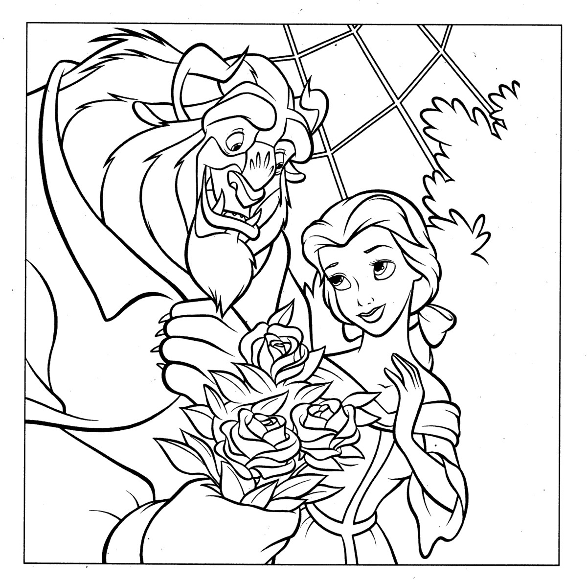 1200x1191 Beauty And The Beast Coloring Pages