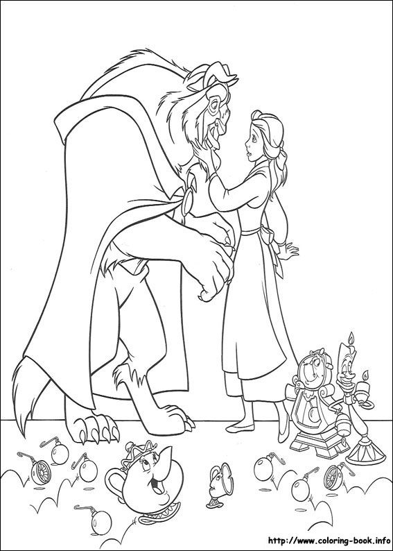 567x794 Beauty And The Beast Coloring Picture Disney's Princess Coloring