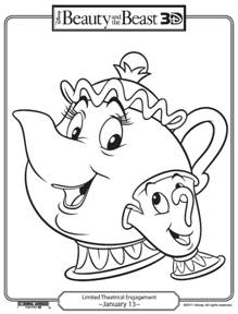 219x288 Free Beauty And The Beast Printable Coloring Pages