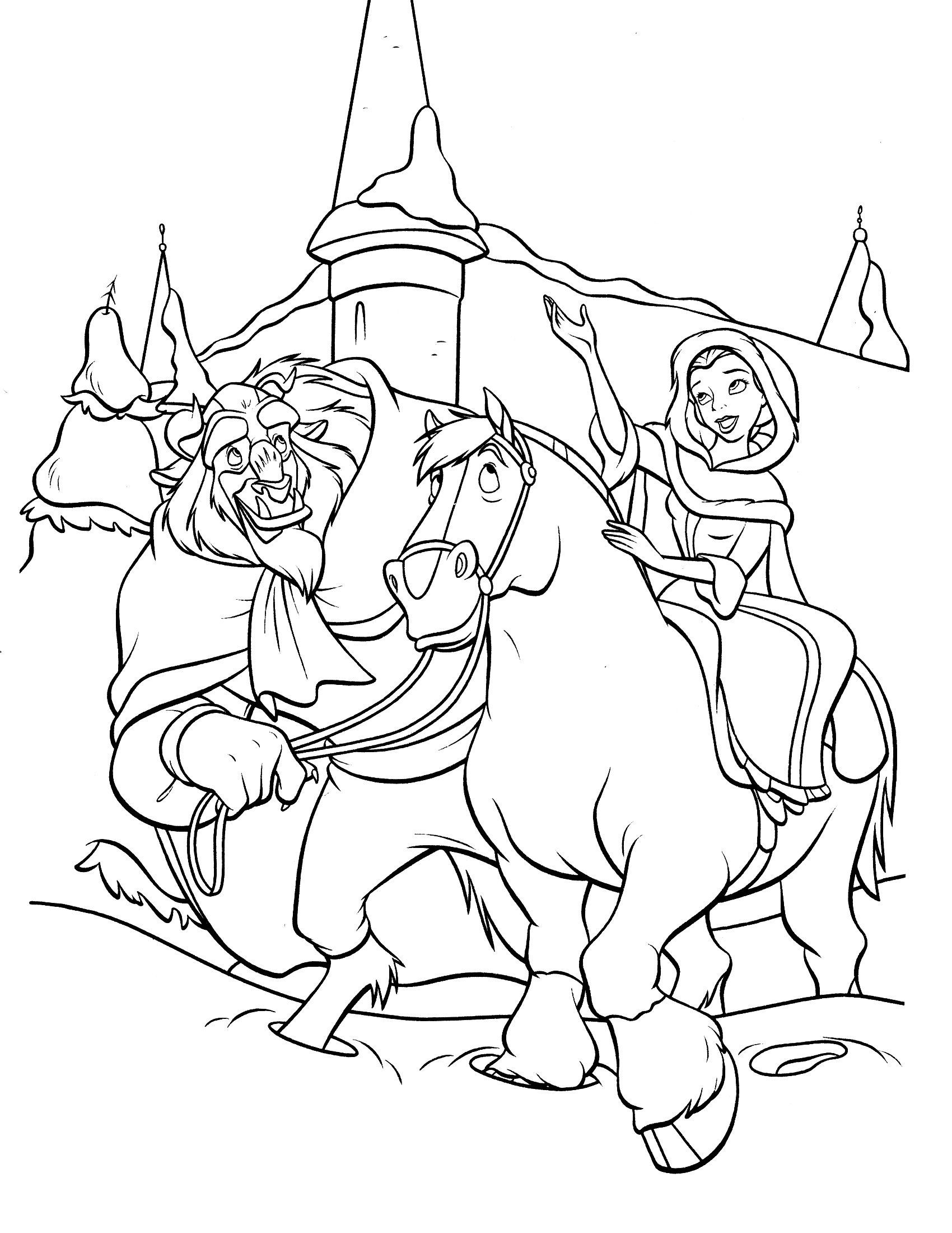 1700x2200 Appealing Beauty And The Beast Printable Coloring Page Image
