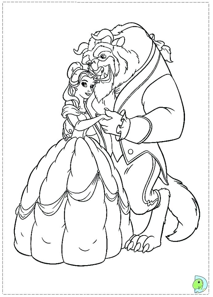 691x960 Beauty And The Beast Coloring Pages Also Beauty And The Beast