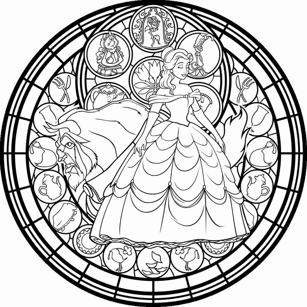 1024x1024 Beauty And The Beast Rose Coloring Pages Paginone Biz Throughout
