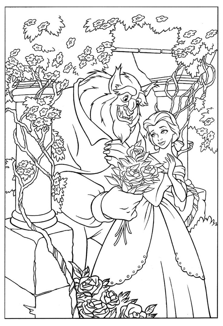 736x1075 Beauty And The Beast Coloring Pages Rose Collection Free