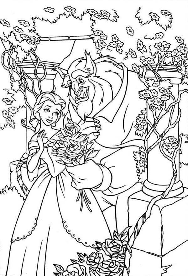 600x878 Belle And The Beast In The Rose Garden Coloring Page