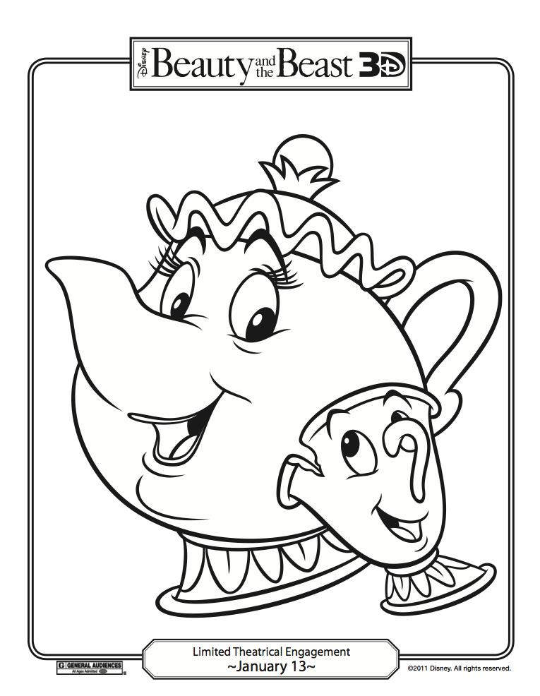 765x986 Disney Beauty And The Beast Coloring Pages