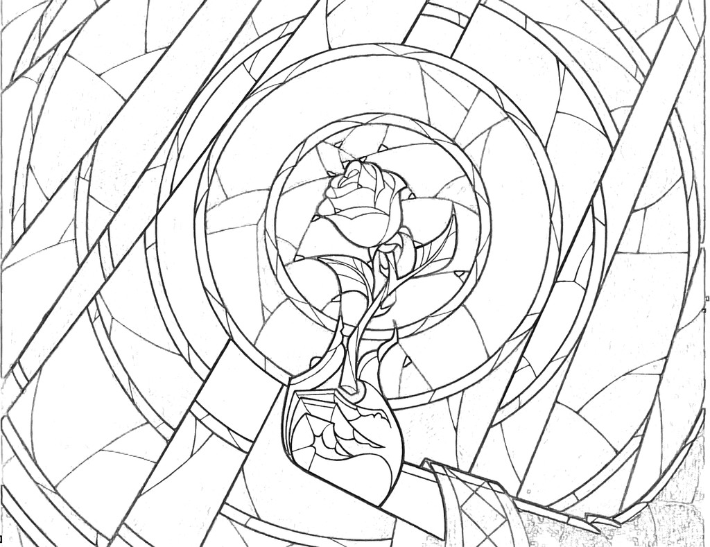 1024x789 Stained Glass Rose Coloring Page