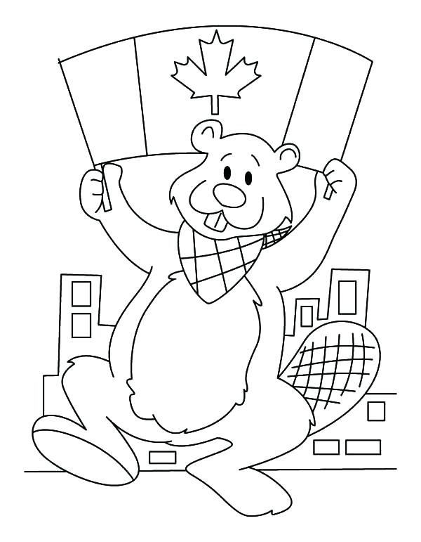 600x771 Beaver Coloring Page A Beaver Holding Flag On Day Coloring Pages