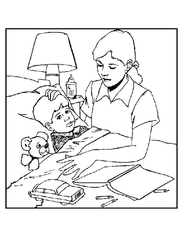 612x792 Bed Coloring Page Germ Coloring Page Sick Coloring Pages Outlined