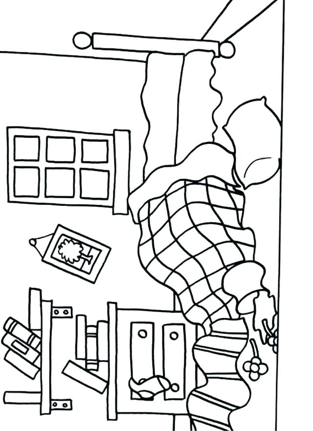 640x881 Bed Coloring Page My Bedroom Coloring Pages