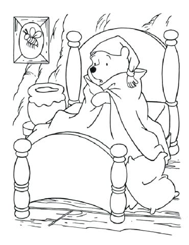 370x480 Bed Coloring Page Sick The Pooh In Bed Coloring Page Hospital Bed