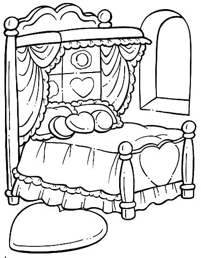 400x512 Bed Coloring Pages Bed Coloring Page Coloring Page Bed Objects