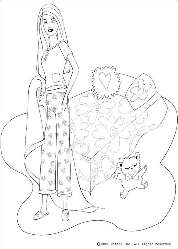 607x850 Barbie's Bed Coloring Pages