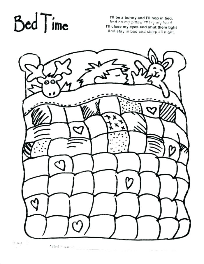 700x906 Bedtime Coloring Pages Bed Coloring Pages Bad Wolf In Bed Coloring