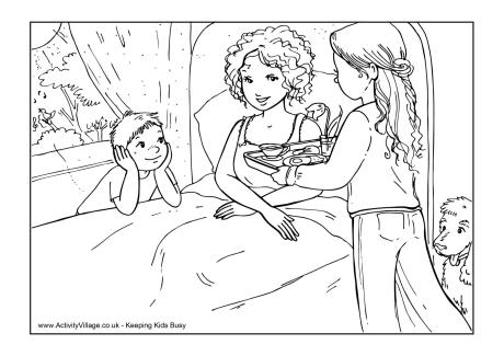 460x325 Breakfast In Bed Colouring Page