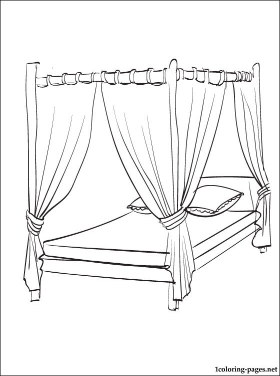 560x750 Canopy Bed Coloring Page Coloring Pages