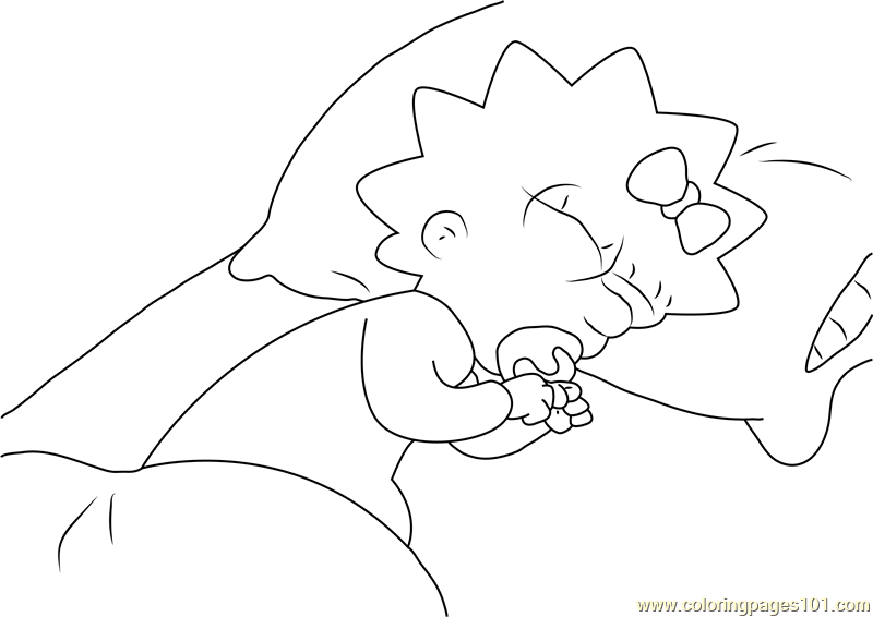 800x566 Maggie Simpson Sleeping On Bed Coloring Page