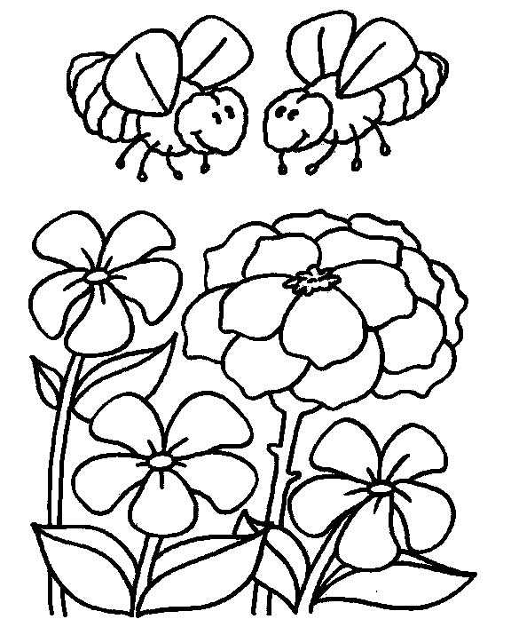 576x715 Coloring Page Bee Flower