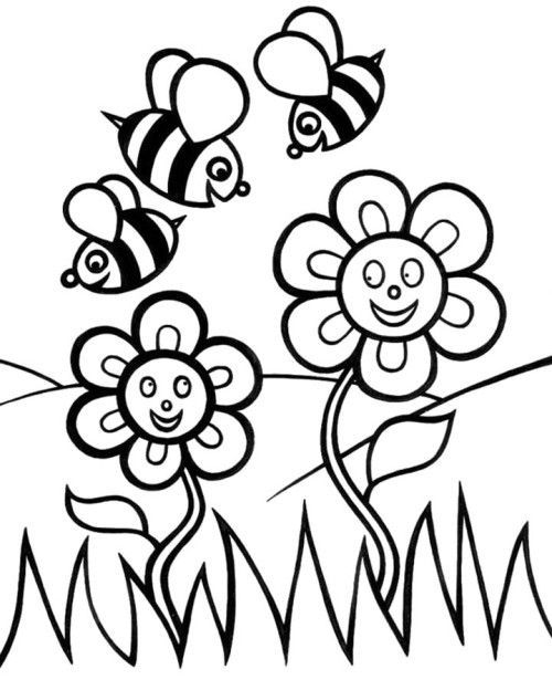 500x615 Flower Coloring Pages For Kids