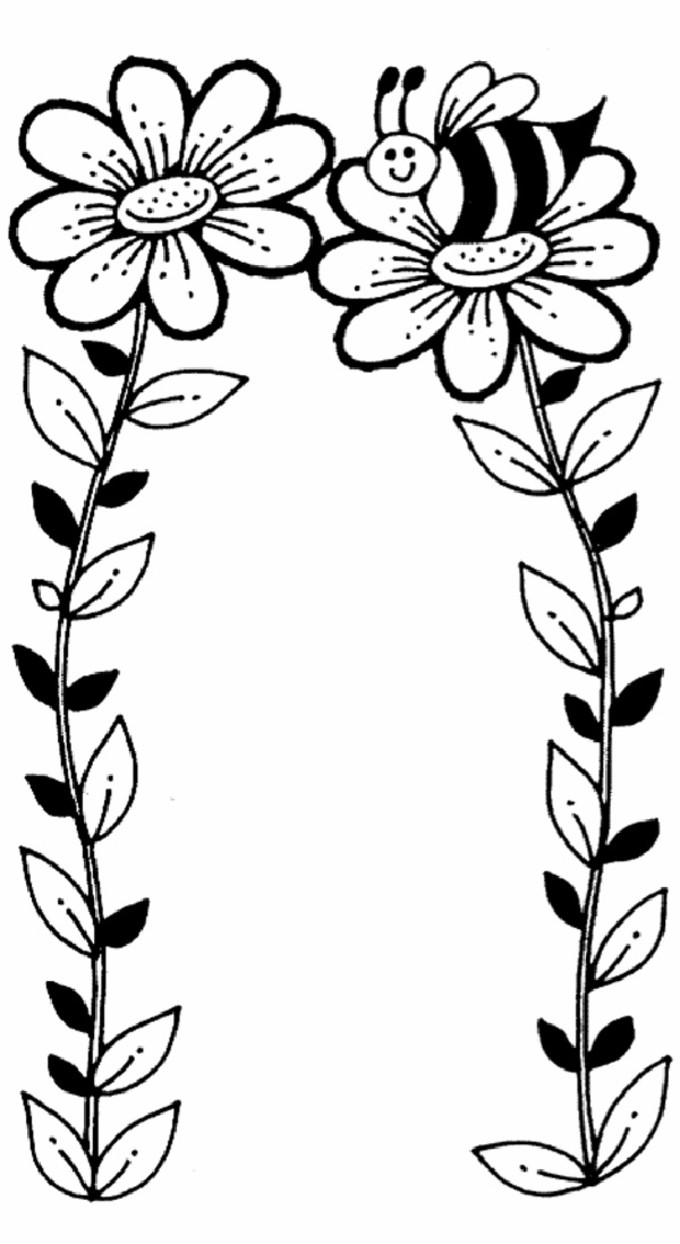 680x1244 Flower Coloring Pages Bees, Flower Colors And Flower