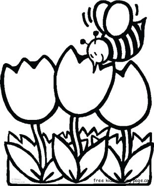 311x377 Bee With Flowers Coloring Sheet For Kidsfree Printable Coloring