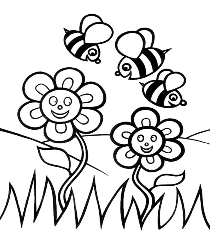 700x835 Bee And Flower Coloring Pages