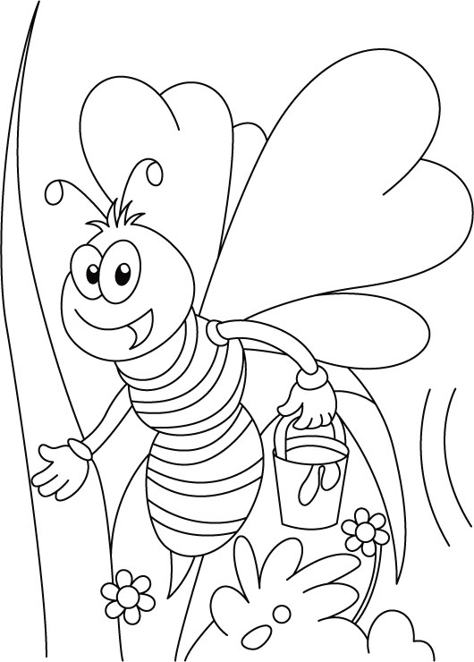 530x740 Bee Coloring Pages Bring Honey