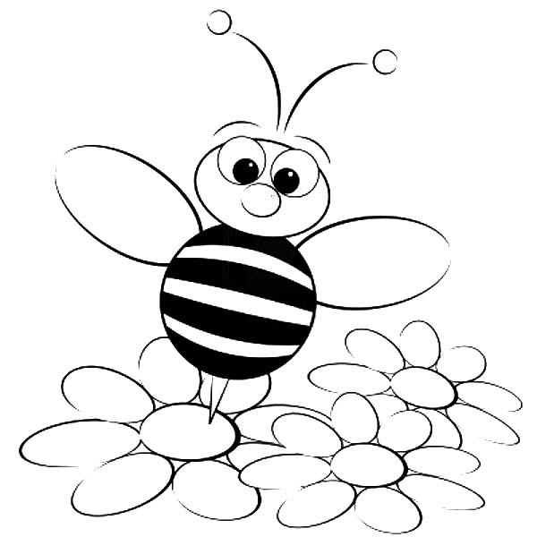 600x600 Bumble Bee Standing On Flower Coloring Pages Best Place To Color