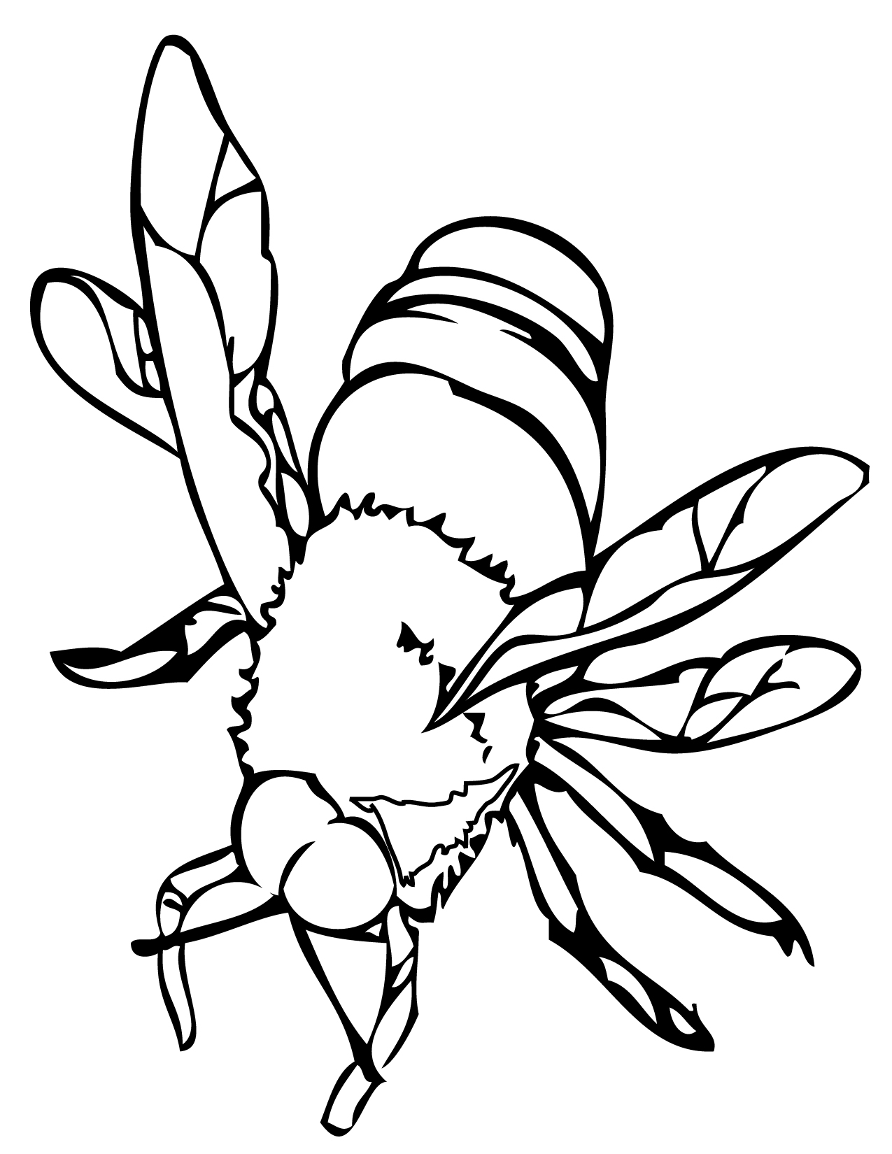 1275x1650 Bee Coloring Page