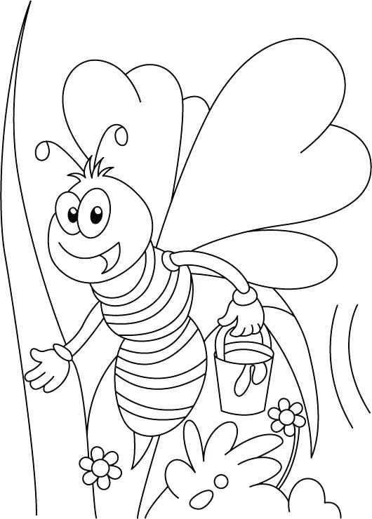 530x740 Bee Coloring Page Miss Honey Bee On Her Tweet Coloring Pages