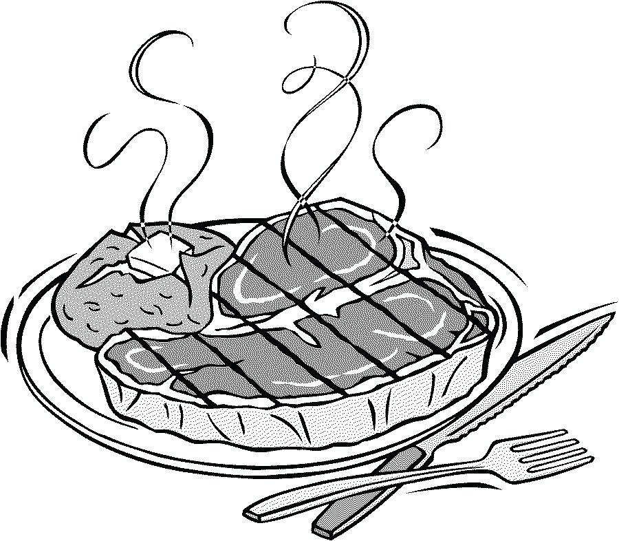 900x786 Dinner Plate Coloring Page Pork Clip Art Beef Black And White