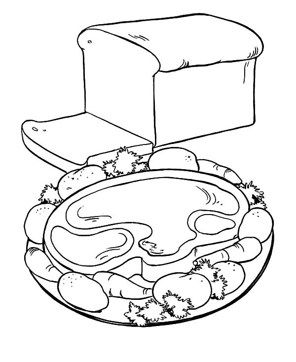 600x734 Healthy Breakfast With Meat And Bread Coloring Pages Best Place