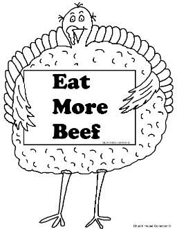 256x331 Turkey Holding Sign Eat More Beef Coloring Page! Thanksgiving