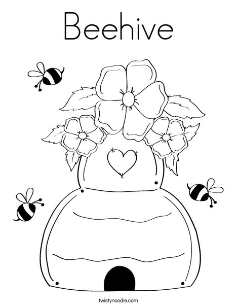468x605 Beehive Coloring Page