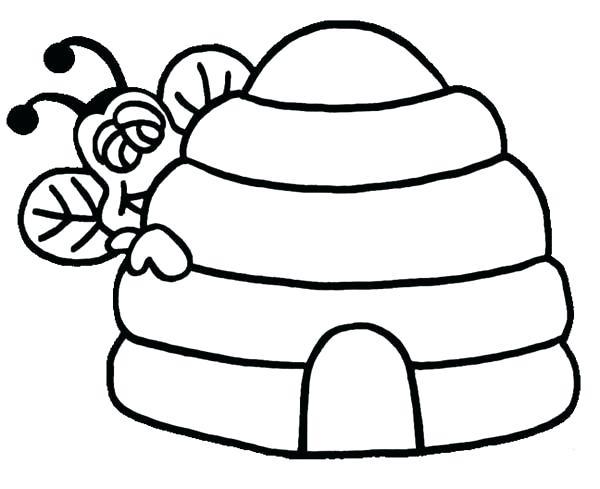 600x489 Beehive Coloring Page Bee Peeking Behind Beehive Coloring Page