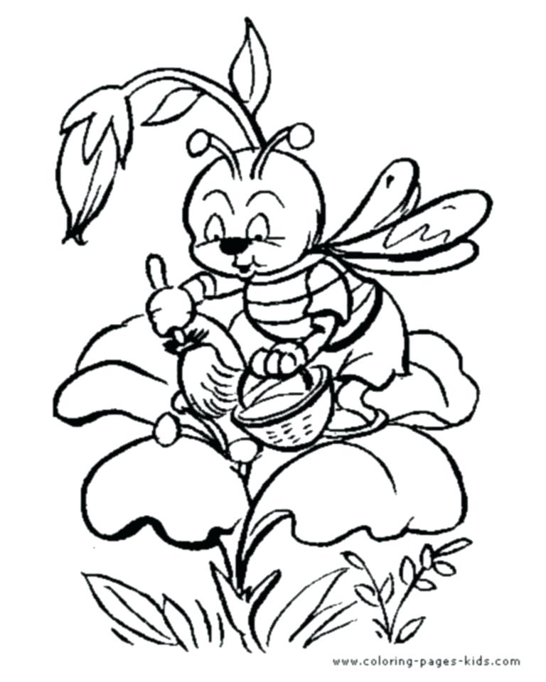 768x960 Honey Bee Coloring Pages Cartoon Bee Collecting Nectar From Flower
