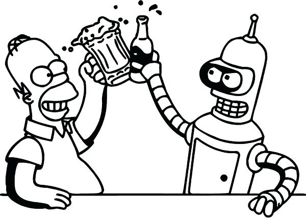 600x427 Futurama Coloring Pages Bender And Homer Drinking Beer Decal