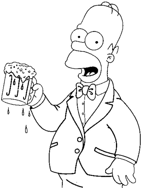 600x795 Homer With A Beer Coloring Pages Best Place To Color