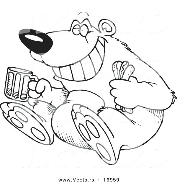 600x620 Hot Dog Coloring Pages Vector Of A Cartoon Bear Sitting With A Hot