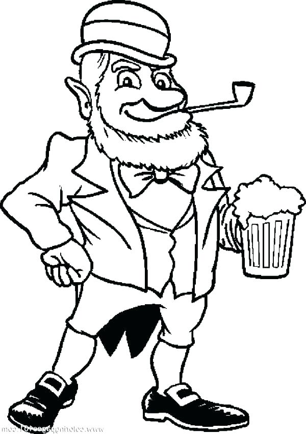 600x849 Leprechaun Hat Coloring Pages Free Page An Old With Beer Fr