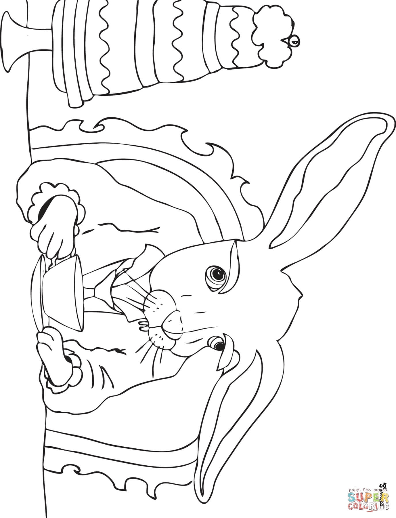 1377x1800 Printable Mad Hatter Tea Party Coloring Page